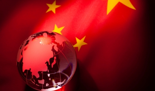 Globe and China Flag for background